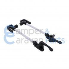 Plastoform 400 Serie | Raamuitzetters buis zwart incl. grendel met zwarte drukknop (30 mm lip) -