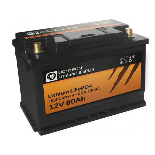 LIONTRON LiFePO4 12,8V 80Ah hoge stroom met BMS -